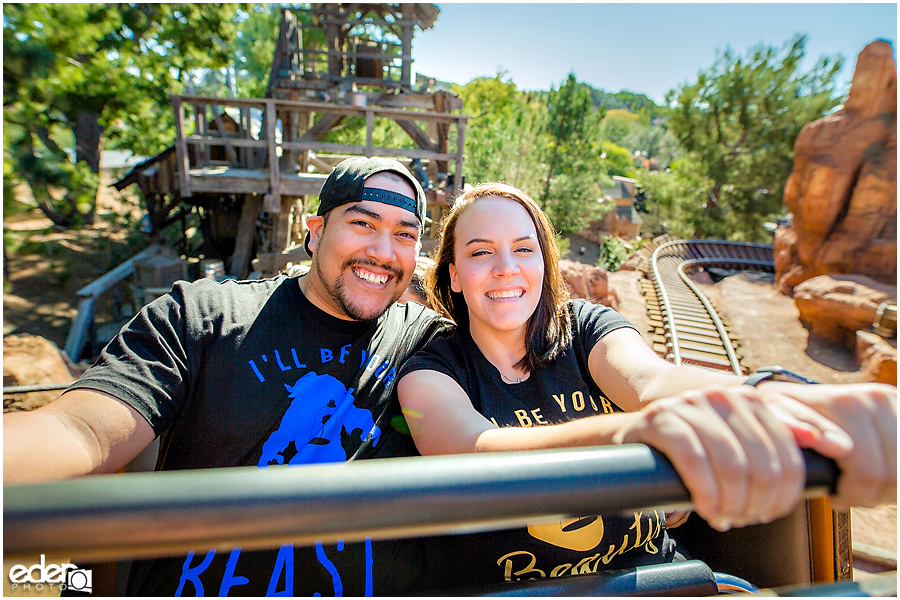 Disneyland Engagement Session on Thunder Mountain Ride.