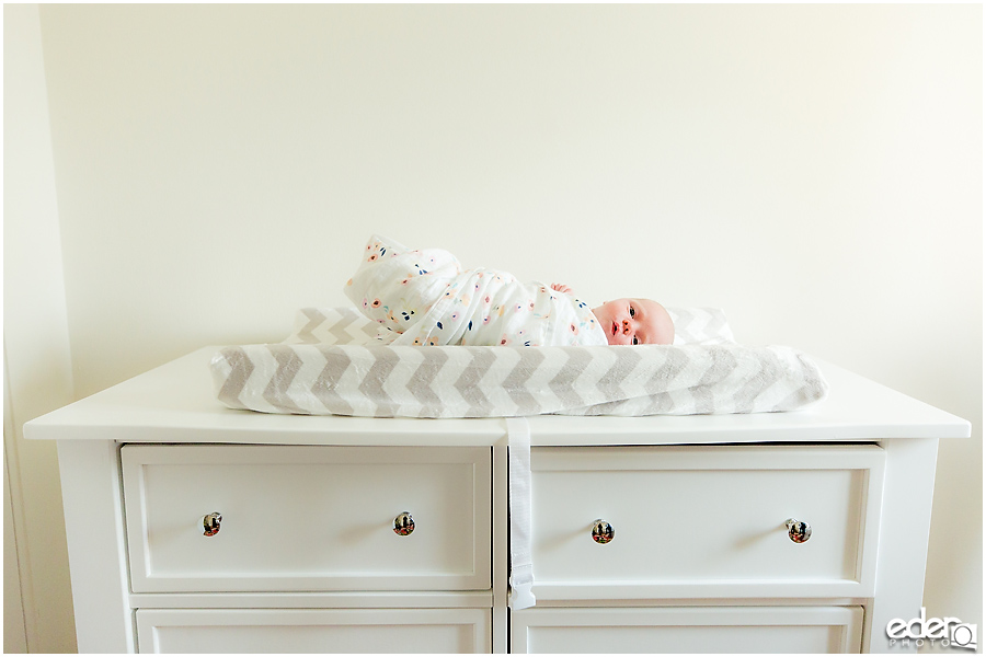 Newborn Lifestyle Portrait Session - baby on changing table.
