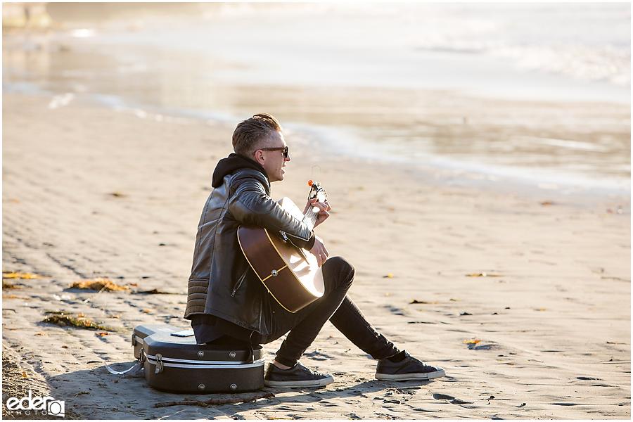 Surprise Marriage Proposal in La Jolla - guitar player