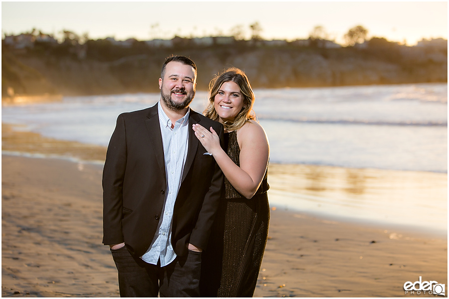 Surprise Marriage Proposal in La Jolla - portraits of couple on the beach.