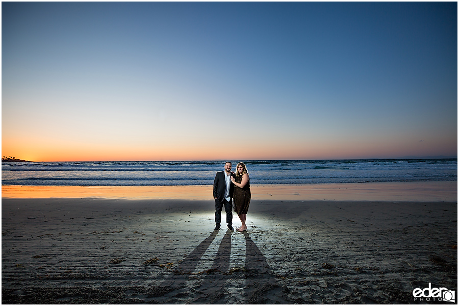 Surprise Marriage Proposal in La Jolla - portraits of couple on the beach at sunset.