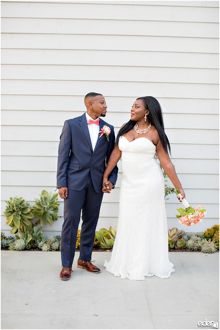 Bride and groom wedding portrait in Imperial Beach.