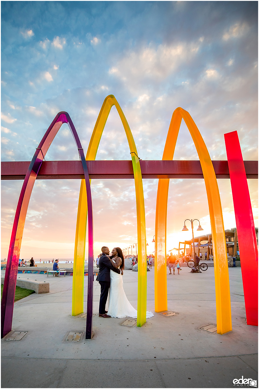 Sunset wedding portraits in Imperial Beach.