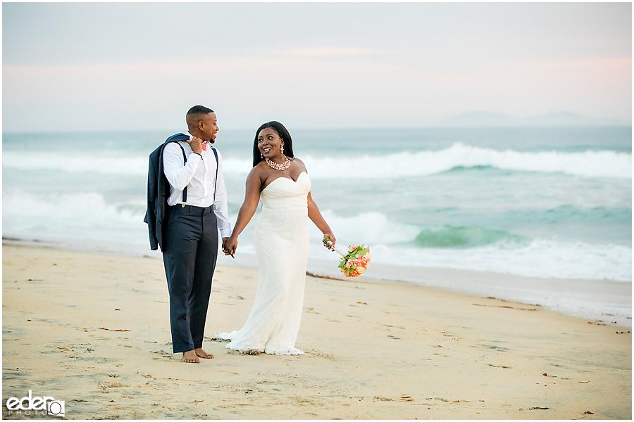 Sunset Beach Wedding Portraits walking