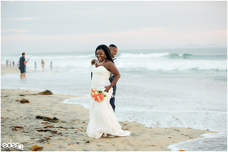 Fun Sunset Beach Wedding Portraits