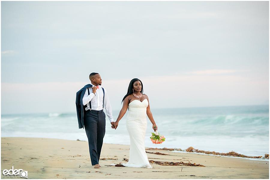 Natural light Sunset Beach Wedding Portraits
