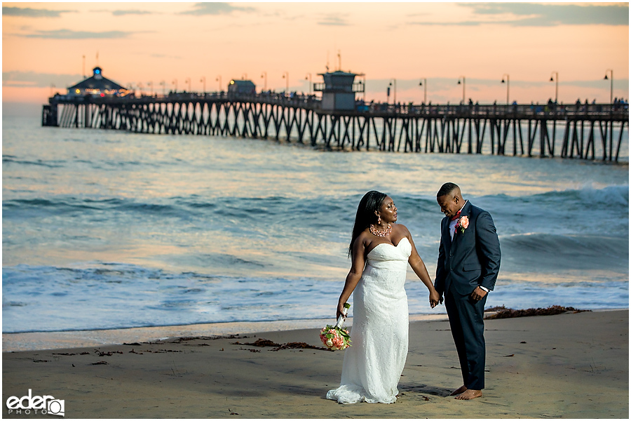 Flash Sunset Beach Wedding Portraits