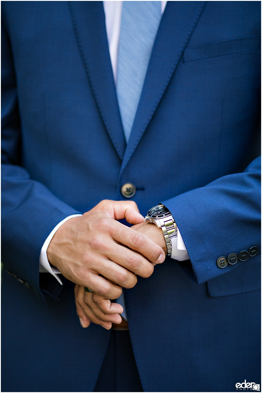 San Diego Elopement portrait of grooms hands.