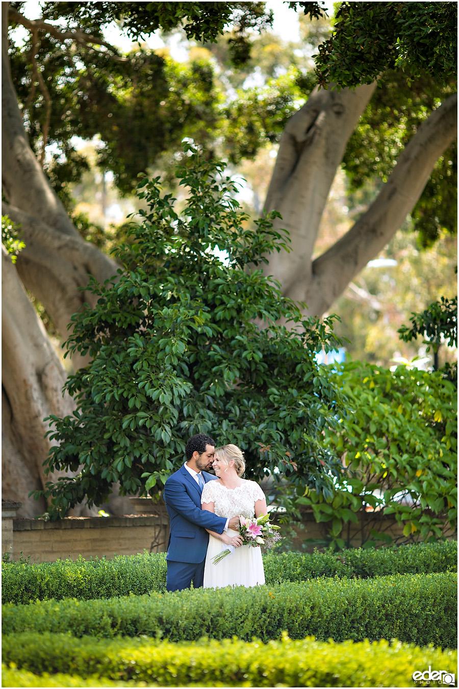 San Diego Elopement couple portrait in a garden.