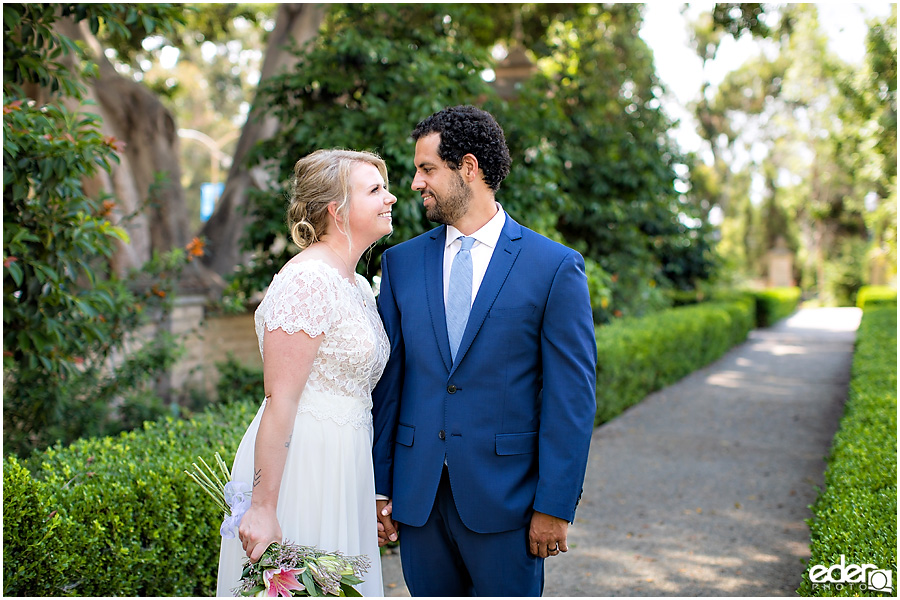 San Diego Elopement couple portrait in Alcazar Garden.