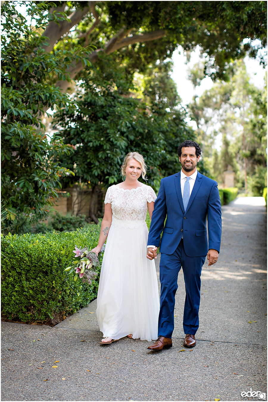 San Diego Elopement couple portrait at Alcazar Garden.