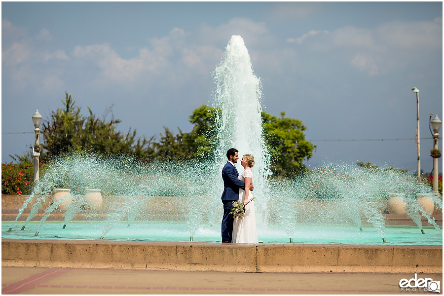 San Diego Elopement portrait in front of the fountain.
