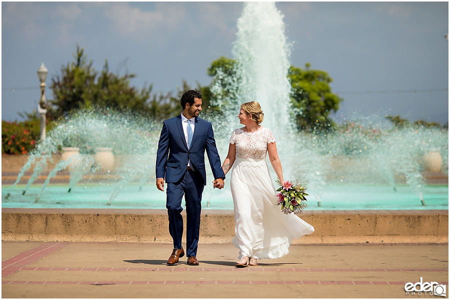 San Diego Elopement in front of Balboa Park fountain.
