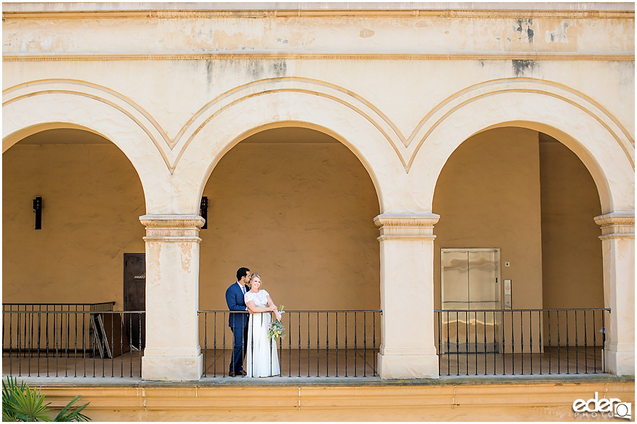 San Diego Elopement photography at Balboa Park under arches.