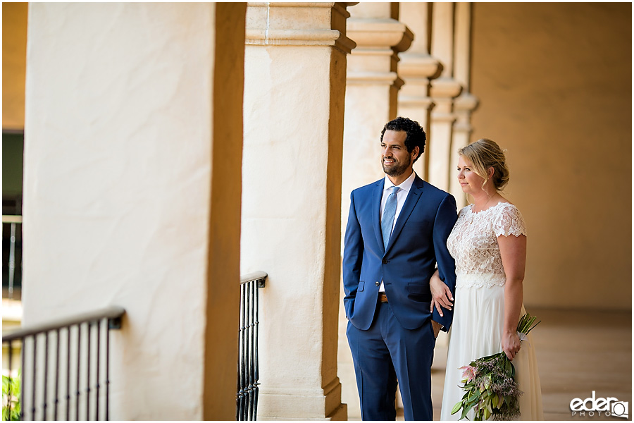 San Diego Elopement photography at Balboa Park natural light.