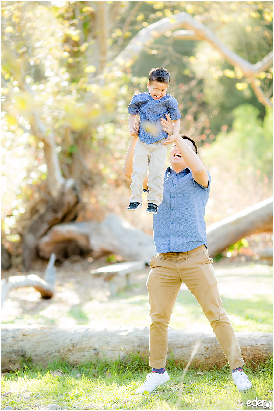 Spring Mini Portrait Session - son and dad playing
