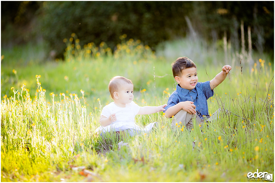 Spring Mini Portrait Session - brother and sister playing